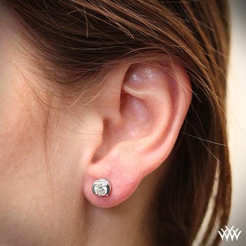 Half Carat Diamond Earrings On Ear Best All Earring Photos