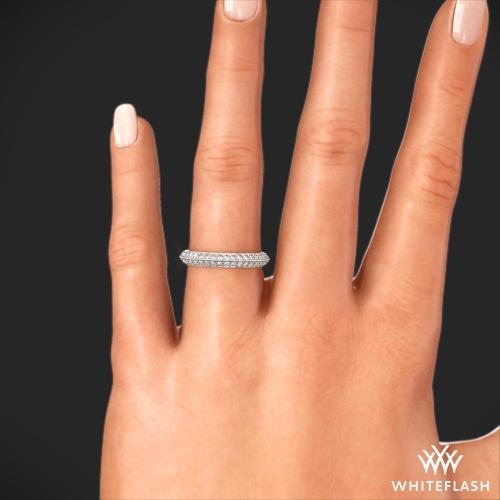 Pave Wedding Band.18k White Gold 3mm Knife Edge Pave Diamond Wedding Ring