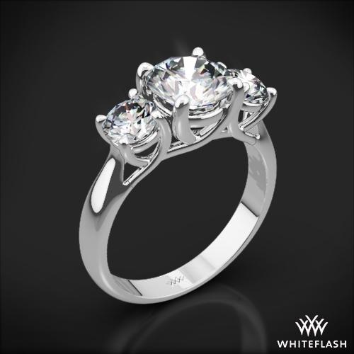 3 Stone Trellis Diamond Engagement Ring 1027