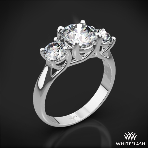 cd3d143ab214c 18k White Gold Trellis 3 Stone Engagement Ring (Setting Only)