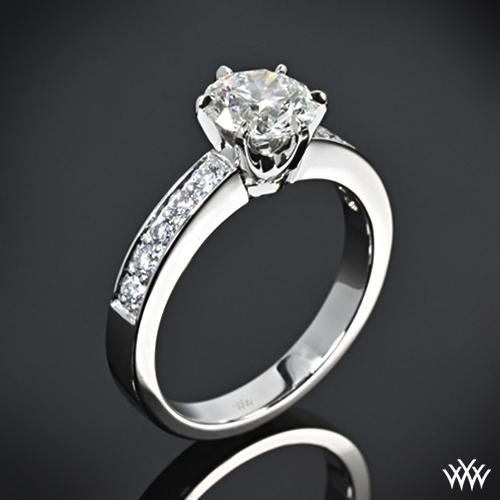 Engagement And Wedding Rings.Platinum Bead Set Diamond Engagement Ring