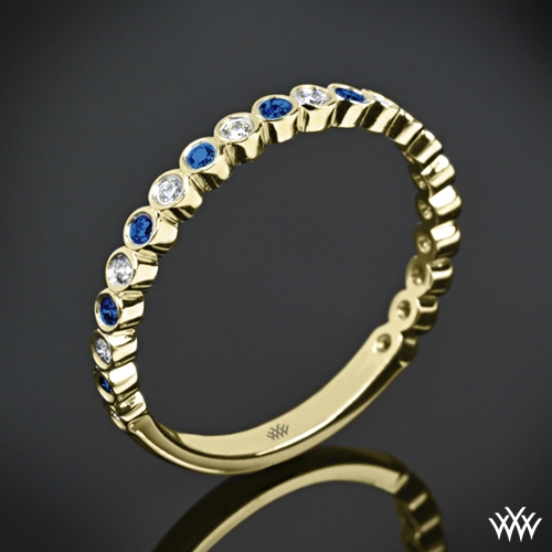 Danielle Jazz Bezel Diamond and Sapphire Ring