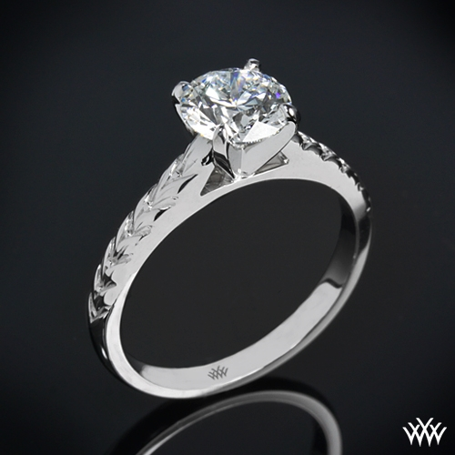 """Engraved Cathedral"" Solitaire Engagement Ring"