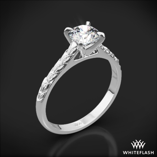 Engraved Cathedral Solitaire Engagement Ring