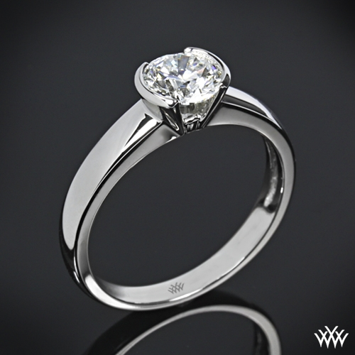 """Keystone"" Half-Bezel Solitaire Engagement Ring"