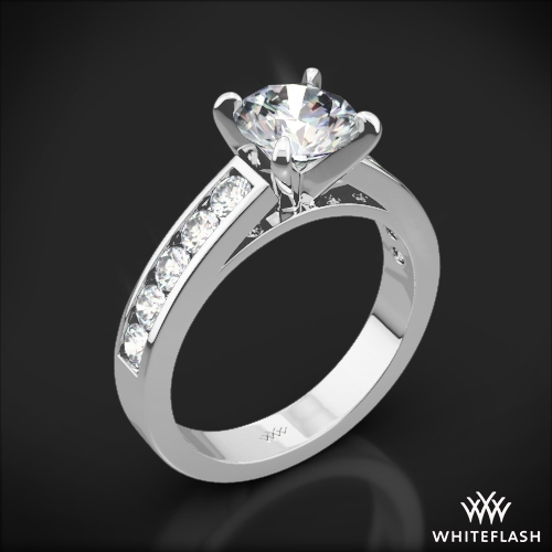 Cathedral Channel Set Diamond Engagement Ring 1