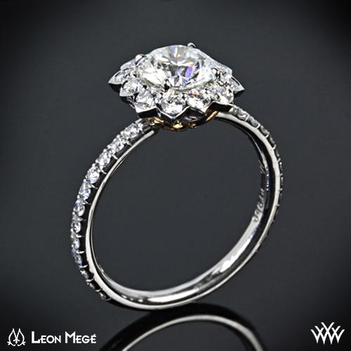 lotus halo diamond engagement ring 1357 - Lotus Wedding Ring