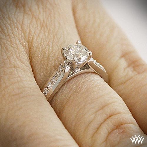 Platinum Cathedral Pave Diamond Engagment Ring