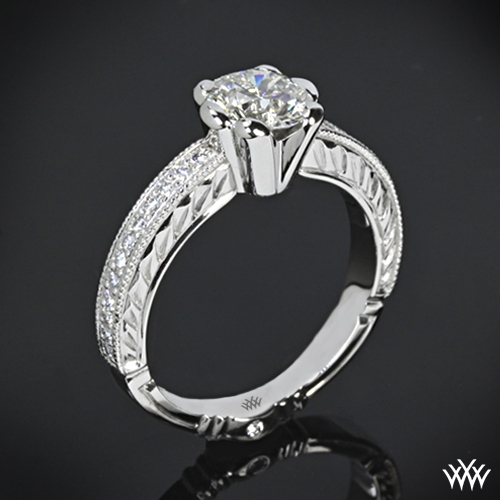 """Crescendo Hand Engraved Half-Bezel"" Diamond Engagement Ring"