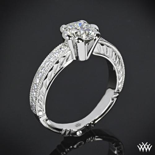 Crescendo Hand Engraved Half-Bezel Diamond Engagement Ring
