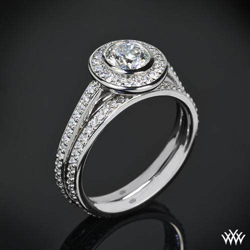 Halo Bezel Diamond Wedding Set