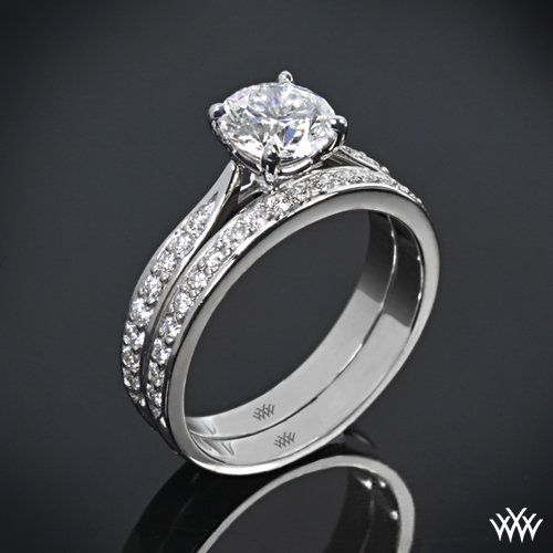 """Legato Sleek Line Pave"" Diamond Wedding Set"