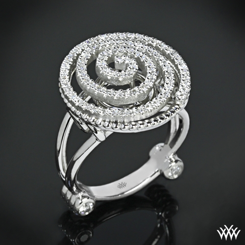Spiral Crest Diamond Right Hand Ring