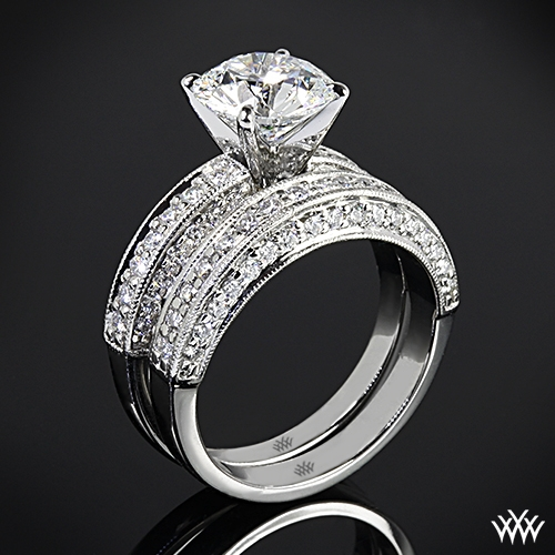 """Three-Side Pave"" Diamond Wedding Set"