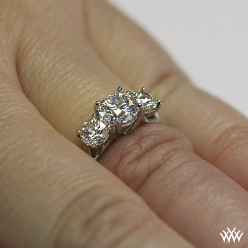3 Stone Trellis Diamond Engagement Ring 1427