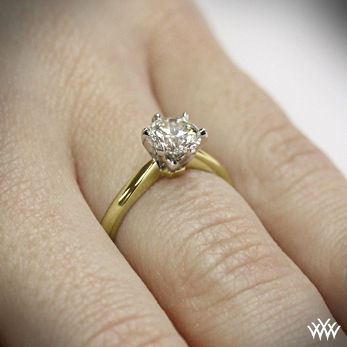 Contemporary classic solitaire engagement ring 1417 ring side view on hand view junglespirit Choice Image