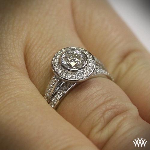 Halo Bezel Diamond Wedding Set 1506
