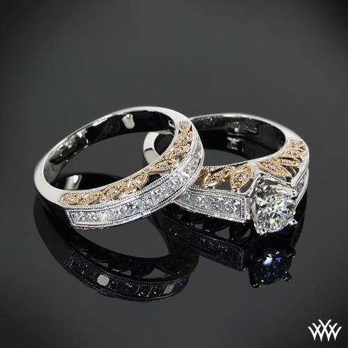 """Delicate Blush"" Diamond Wedding Set"