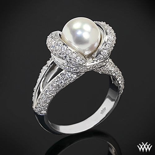 """Diamond And Pearl Engagement Rings: """"Gaia"""" Pearl And Diamond Ring"""