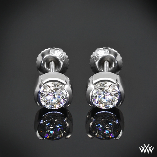 """Half-Bezel"" Diamond Earrings"