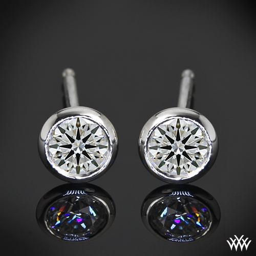 """Handmade Full-Bezel"" Diamond Earrings"