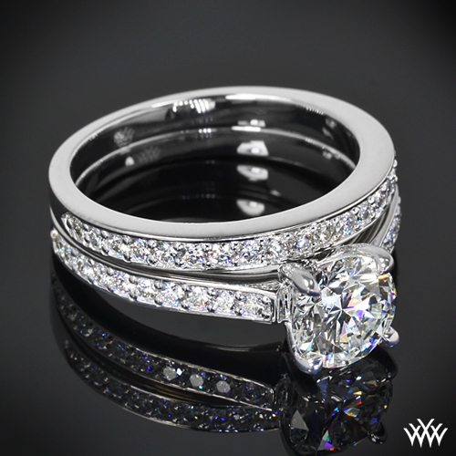 """Scarlet"" Diamond Wedding Set Ring Zoomed View"