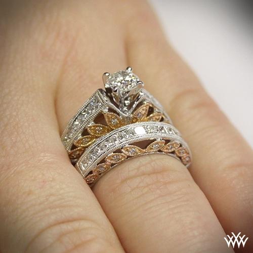 Delicate Blush Diamond Wedding Set