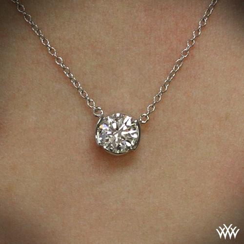 Half bezel diamond pendant ready set to go 1555 zoomed on neck view aloadofball Images