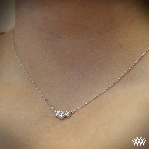 Tandem 3 stone diamond pendant ready set to go 1575 zoomed on neck view aloadofball Choice Image