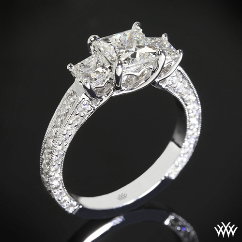 """Coeur de Clara Ashley"" 3 Stone Engagement Ring for Princess Cut Diamonds"