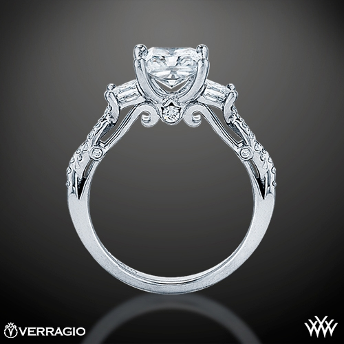 Twisted Shank Princess 3 Stone Engagement Ring By Verragio