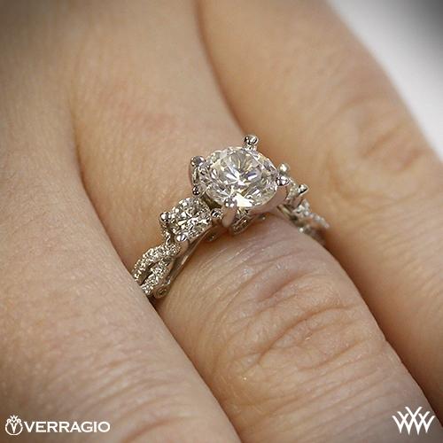 Verragio engagement rings on finger