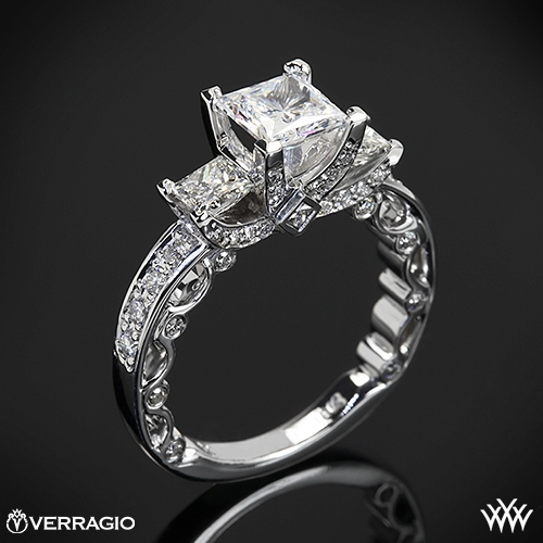 Verragio PAR-3064P Bead-Set Three Stone Engagement Ring for Princess