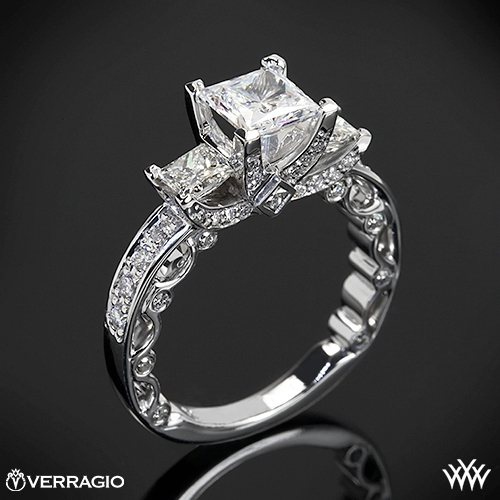 Beadset Princess 3 Stone Engagement Ring By Verragio  1802. Welded Rings. Princess Diana Engagement Rings. Summer Wedding Rings. Rare Blue Diamond Engagement Rings. Lovely Wedding Wedding Rings. Hockey Rings. Love Name Rings. Avarice Rings