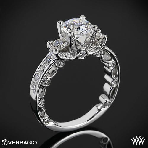 Verragio PAR-3064R Bead-Set Three Stone Engagement Ring