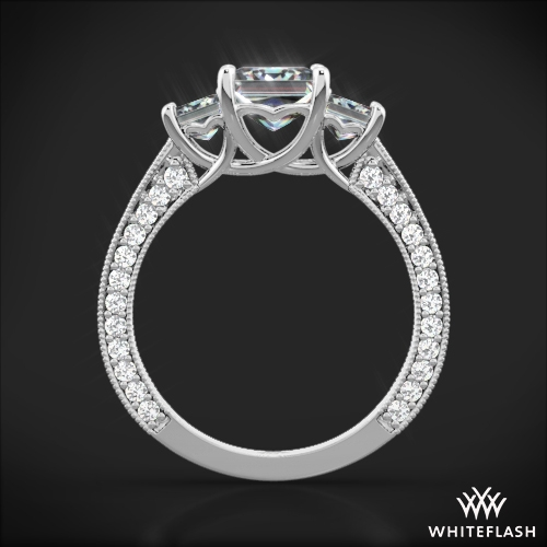 3 stone coeur de clara ashley diamond engagement ring for princess cut diamonds 2 - Princess Cut Diamond Wedding Rings
