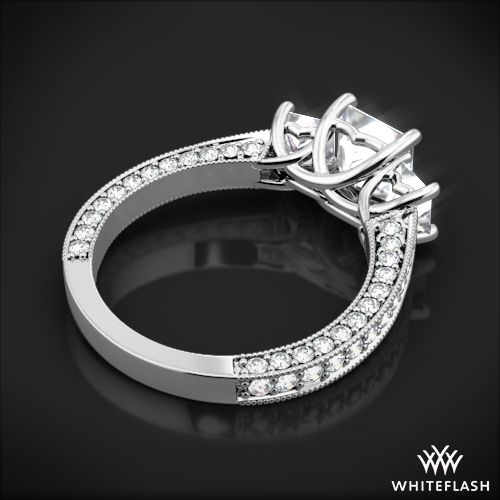 3 stone coeur de clara ashley diamond engagement ring for princess cut diamonds 5 - Wedding Rings Princess Cut