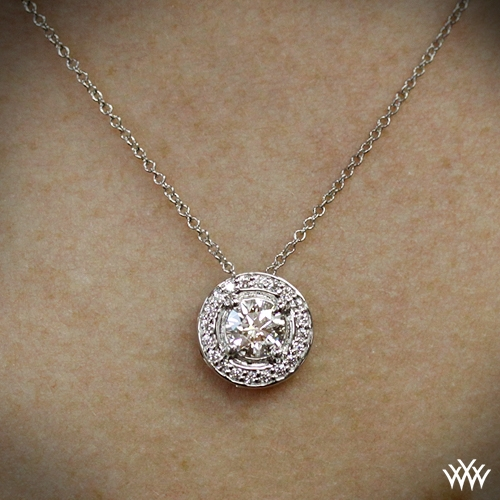 Halo prong diamond pendant 1749 zoomed on neck view aloadofball Gallery