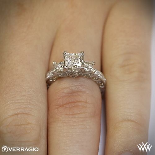 BeadSet Princess 3 Stone Engagement Ring by Verragio 1802