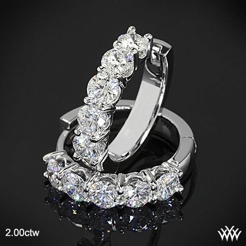 Shared-Prong Diamond Hoop Earrings