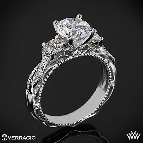 Verragio AFN-5013R-4 Beaded Twist Three Stone Engagement Ring