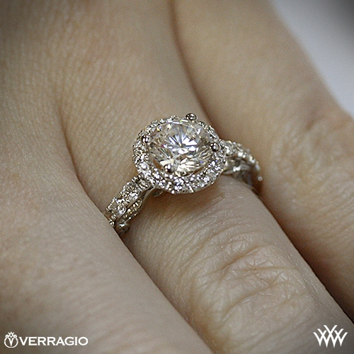 18k white gold verragio ins 7003 half eternity halo diamond engagement - Verragio Half Eternity Halo Diamond Engagement Ring 1878