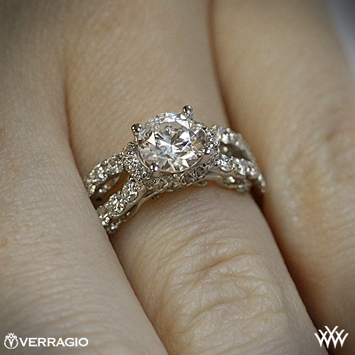verragio 4 prong pave wrap diamond engagement ring 1882. Black Bedroom Furniture Sets. Home Design Ideas