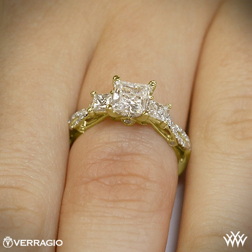 3 Stone Engagement Ring by Yellow Gold Engagement Rings On Hand