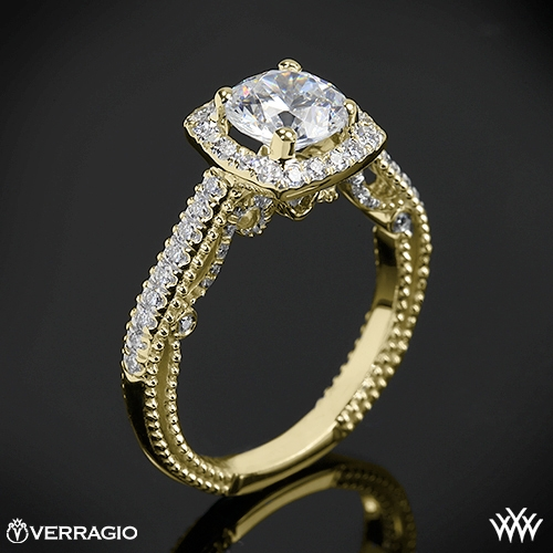Verragio INS-7061CU Beaded Halo Diamond Engagement Ring