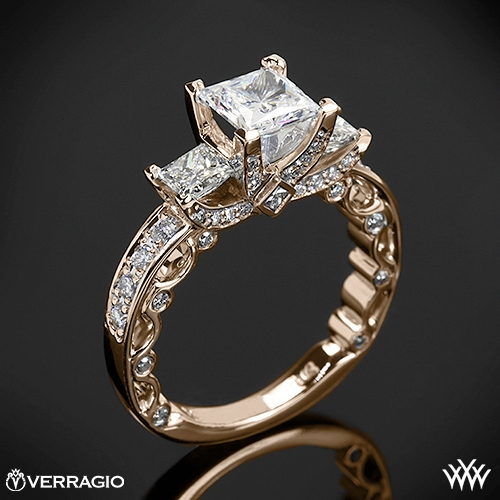 Verragio PAR-3064P Bead-Set Three Stone Engagement Ring for Princess