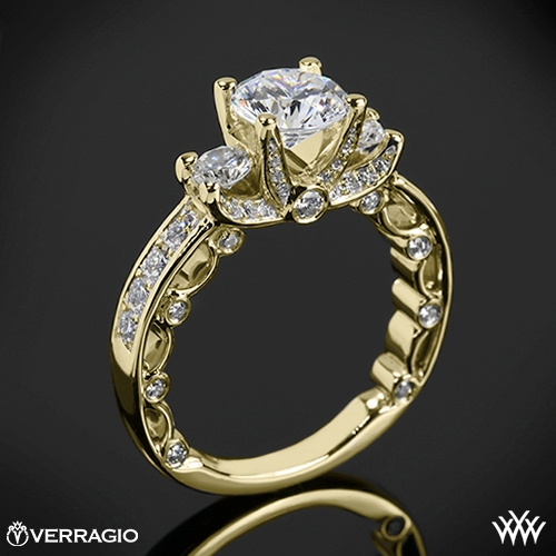 Verragio PAR-3064R Bead-Set Three Stone Engagement Ring