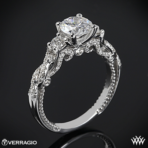 bb5f517512493 18k White Gold Verragio INS-7074R Braided 3 Stone Engagement Ring