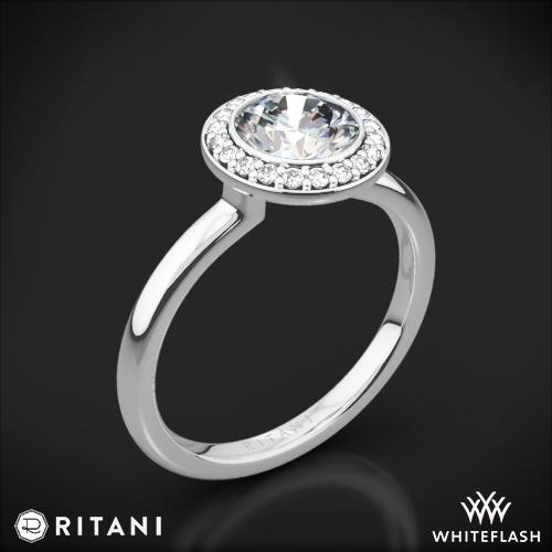 Ritani 1RZ1851 Bezel-Set Halo Solitaire Engagement Ring