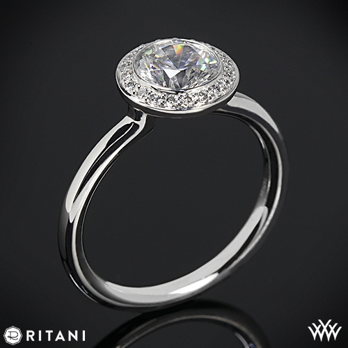 Ritani 1RZ1851 Bezel-Set Halo Diamond Engagement Ring